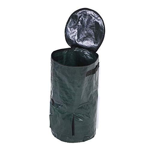35 x 60cm PE Kompostbeutel, Doppelgriffe Bio Kompostbeutel für Bioabfälle Küchengarten (Dunkelgrün)