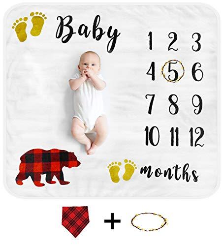 Cimkiz Baby Monthly Milestone Blanket for Boys and Girls Organic Premium Fleece Photography Background Blankets Bonus Floral Wreath + Bib Best Newborn Photo Prop Large (Bear)