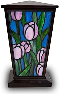 OneWorld Memorials Tulip Stained Glass Cremation Urn - Large - Holds Up to 200 Cubic Inches of Ashes - Pink Cremation Urn for Human Ashes - Custom Engraving Included