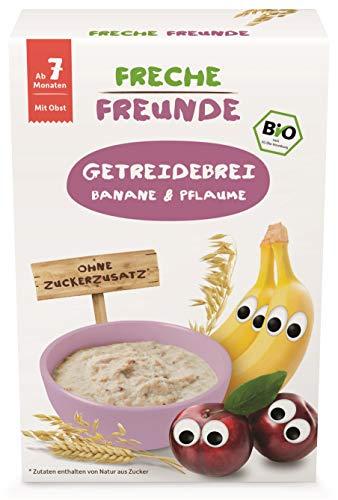 Freche Freunde Bio Feines Porridge Pflaume & Banane, Getreidebrei mit Obst für Babys ab 7 Monaten, vegan, 8er Pack (8 x 200 g)