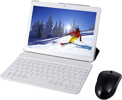 Tablet Android Completo con Pantalla HD IPS de 10,0', Android 7.0 3G Pad con 2 Ranuras para Tarjetas SIM, Quad Core, 1.3GHz, 4GB + 64GB Bluetooth, WiFi, GPS, Cámara Dual, Blanco