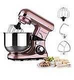 Robot de cuisine or rose 600 W, 3 fonctions principales (pétrir, mixer, fouet), bol en acier inoxydable 4 L, 7 vitesses avec affichage LED, robot pétrisseur, mixeur, machine à pâte, mixeur