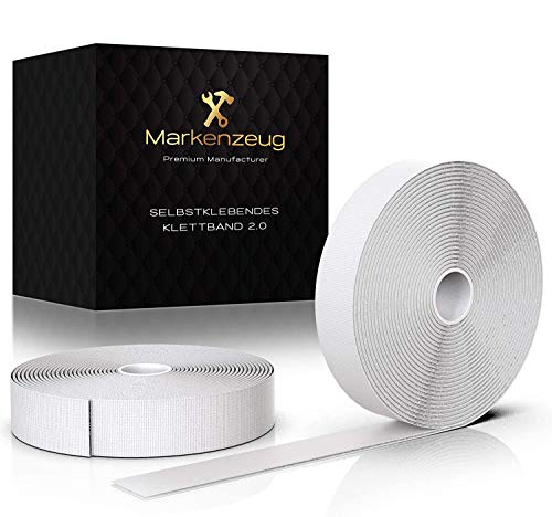 MARKENZEUG Klettband Selbstklebend - Verbessertes Konzept 2020 I Klettband Weiß I Klettband selbstklebend extra stark I doppelseitiges Klettband | Klettverschluss selbstklebend I 8 m