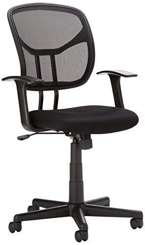 Amazon Basics Mesh, Mid-Back, Adjustable, Swivel Office Desk Chair with Armrests, Black