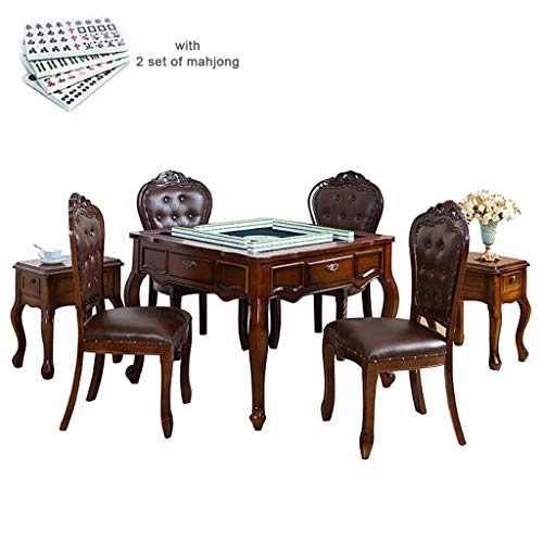 Mahjong Table Automatic Dining Table Mah Jong Machine Equipped with Cover, Storage Box, Comes 2 Sets of 42mm Large Tiles European (Color : B)
