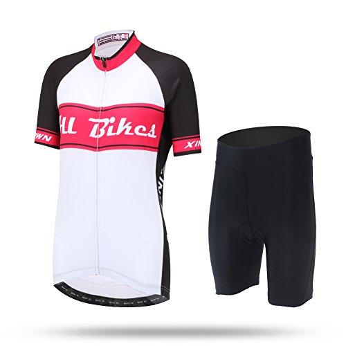 LSHEL Damen Radtrikot Set, Radbekleidung Anzüge, Quick Dry Radsportanzug, Fahrradtrikot Kurzarm und Radhose mit 3D Sitzpolster für Radfahren MTB, Rose, EU XS(Label: S)