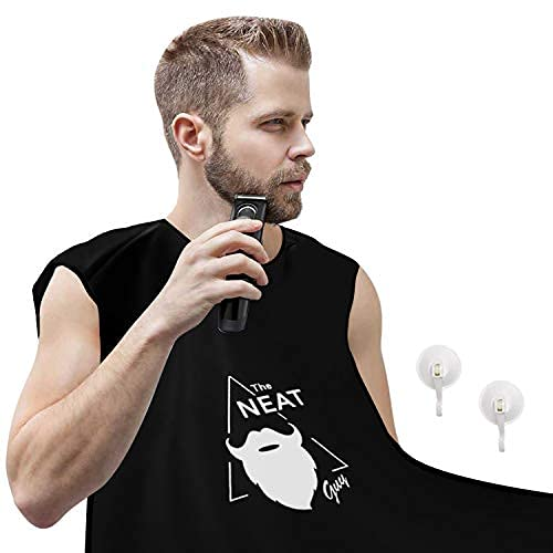 The Neat Guy Beard Bib Apron for Men - Bib for Mess-Free Shaving, What You Need for a Good Clean Shave, Beard Hair Catcher for Men Shaving & Trimming,Grooming Cape Apron,Anniversary Gift for Him-Black