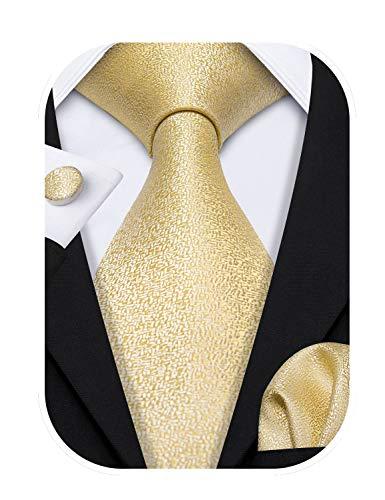 Barry.Wang - Corbatas formales para hombre, de seda con pañuelo y gemelos, para bodas negocios. Dorado Oro 1116 Talla única