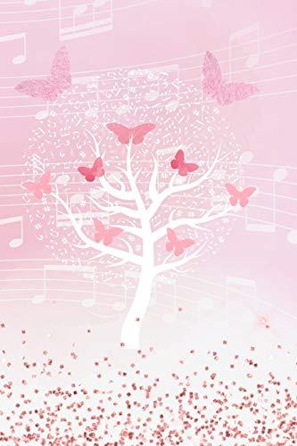 Notizbuch Musik: Blanko Journal zum Selbstgestalten, linierte Seiten, Cover mit Baum aus Musiknoten und Schmetterlingen