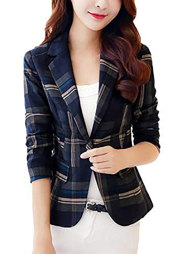 Blazer Dames Elegante vintage geruit Sakko lange mouwen Revers Slim Fit meisjes knopen met Fashion Classic Office Business Pak Jacket Jacks