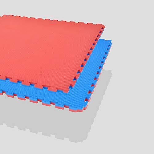 Mugar-Tatami Puzzle 100x100x2cms Azul y Rojo Reversible Esterilla Goma Espuma Estructura Pack Ideal Artes Marciales, Judo, Taekwondo, Karate, Yoga, Pilates-Suelo Tatami Japonés