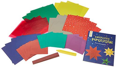 Kreativ-Set Kinderleichte Papiersterne: Buch mit über 60 verschiedenen Faltpapieren und Falzbein (Buch plus Material)