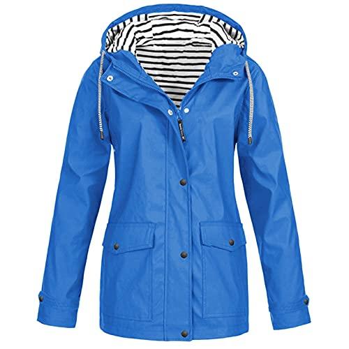 Aniywn Rain Jackets for Women Waterproof Solid Color Lightweight Rain Coats for Women Breathable Outdoor Jacket Raincoat Blue