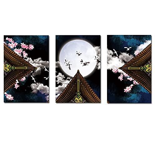 Arte de la lona impresión arquitectura flor de melocotón lienzo pinturas artísticas sala de estar dormitorio impresiones cartel de la pared decoración del hogar 30x40cmx3 sin marco