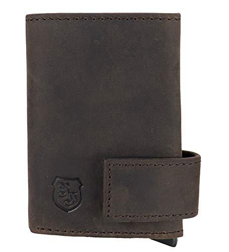 C-Clip - Kompaktes Kreditkartenetui mit Schutzhülle aus Echt-Leder - Kreditkartenhalter für Damen und Herren - Money Clip mit Kartenhüllen - BRAUN - RFID-Schutz