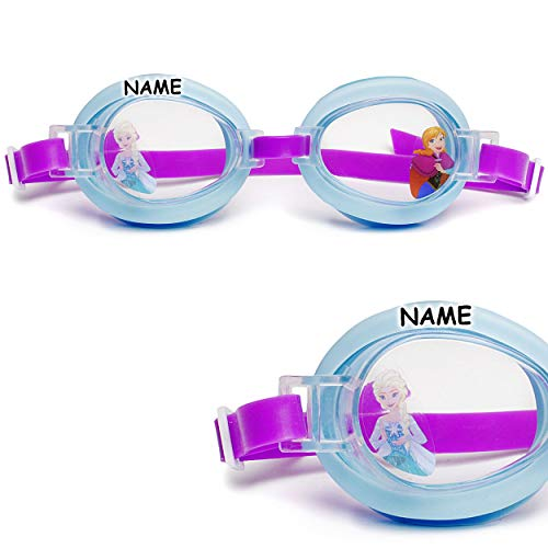 alles-meine.de GmbH Kinder - Schwimmbrille / Chlorbrille / Taucherbrille - Disney die Eiskönigin - Frozen - inkl. Name - von 2 bis 12 Jahre - verstellbar / wasserdicht & Anti BES..