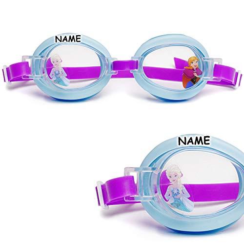 alles-meine.de GmbH 2 Stück _ Kinder - Schwimmbrillen / Chlorbrillen / Taucherbrillen - Disney die Eiskönigin - Frozen - inkl. Name - von 2 bis 12 Jahre - verstellbar / wasserdic..
