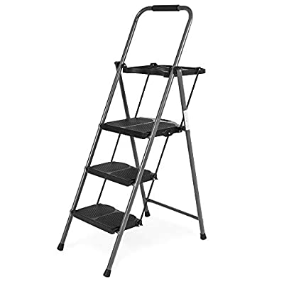 Best Choice Products Best Choice Folding Steel 3-Step Stool Ladder Tool Equipment w/Hand Grip, Wide Platform Steps, 330lbs Capacity