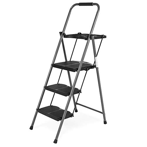 Best Choice Folding Steel 3-Step Stool Ladder Tool Equipment for Indoor, Outdoor w/ Hand Grip, Wide Platform Steps, 330lbs Capacity - Black