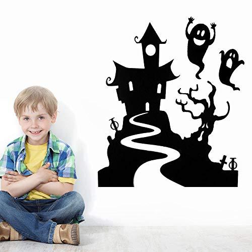 BB67 Feliz Halloween Ghost House Pattern Home Home Home Room Wall Sticker Mural decorativo adhesivo extraíble DIY niños adultos dormitorio salón decoración regalo