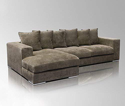 Amaris Elements   'Newman' Ecksofa Samt inkl. 6 Kissen   Couch Garnitur Länge 3m braun   Samtsofa L-Form Wohnlandschaft