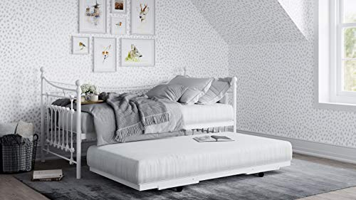 Daybed Single Metal Frame White with Under Bed Trundle Guest 3ft