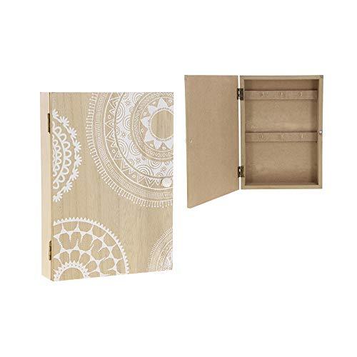 KONTARBOOR - Caja de llaves de pared de madera con motivos blancos, 26 x 19 x 5 cm.