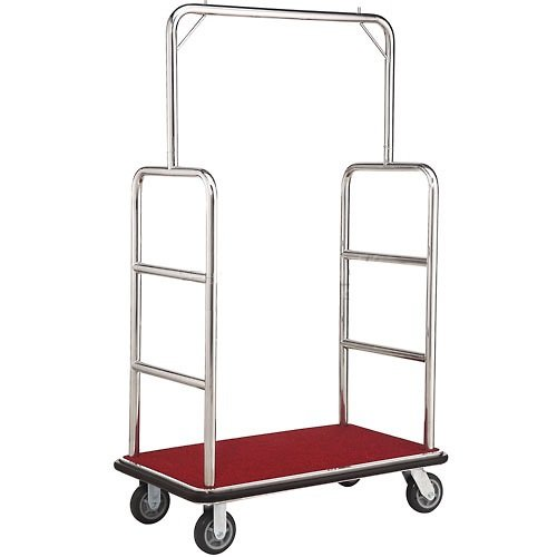 Silver Stainless Steel Bellman Cart, Straight Uprights, 6' Rubber Casters, 41-1/4'L x 24'W x 73'H