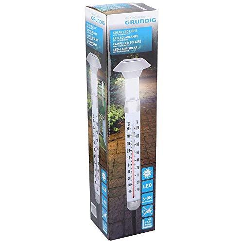 GRUNDIG LED Solar Leuchte 08256 Außenthermometer Erdspieß Wetterstation Garten