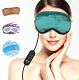 Heated Eye mask Lavender Sleeping Masks for Fatigue Men Women, Warming Night Massage Mask, Electric Heating Aceoce Portable Comfort Relieving Insomnia Blepharitis Puffines(Green)
