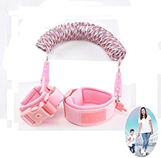 Anti Lost Wrist Link, Night Vision Child Toddler Safety Harnesses & Leashes with Key Lock, 360°Rotate Anti Lost Strap Rope Wristbands Leash for Kids