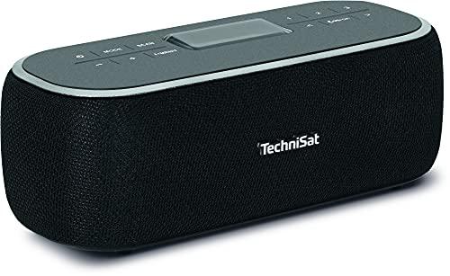 TechniSat Viola BT 1 - tragbarer Bluetooth-Lautsprecher mit DAB+ Digitalradio (UKW, DAB, Uhr, Wecktimer, Favoritenspeicher, LCD, Freisprechfunktion, AUX-in, Akku, Netzteil, 6W) schwarz/grau