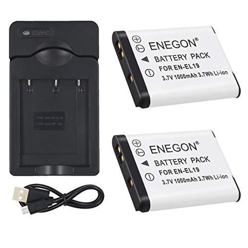 ENEGON 2 Baterías y Cargador para Nikon EN-EL19 and Nikon Coolpix S32 S33 S100 S2800 S3100 S3200 S3300 S3500 S3600 S4100 S4200 S4300 S5200 S5300 S6500 S6600/6800 y Sony NP-BJ1 DSC-RX0