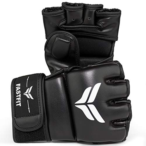 FastFit MMA Gloves PU Leather Fighting Gloves for Men and Women-Fingerless Gloves Perfect for MMA,Punching Bag,Kickboxing,Muay Thai and Training-with Adjustable Wrist Band (Black, Small)