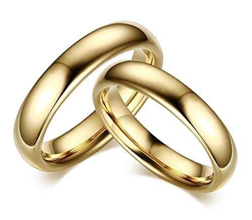 DRG Jewelry Couple Engagement Rings Rings Steel 4mm Gold Simple Polished Boyfriends Wedding Anniversary Men Women Love Love Love gold
