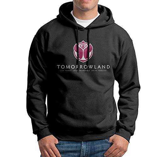 LKQTH Herren Hoodie Sweatshirt Tomorrowland Pullover Kapuzenpullover Gr. L, Schwarz