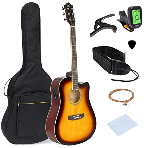Best Choice Products 41in Full Size Acoustic Electric Cutaway Guitar Set w/Capo, E-Tuner, Bag, Picks, Strap - Sunburst