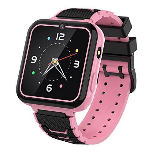 """Kids Smart Watch for Boys Girls-[SD Card Included] 1.57"""" HD Touch Screen with 7 Games Music Player Alarm Clock Record Calculator Camera Flashlight for Children Toy Birthday Gift (Pink)"""