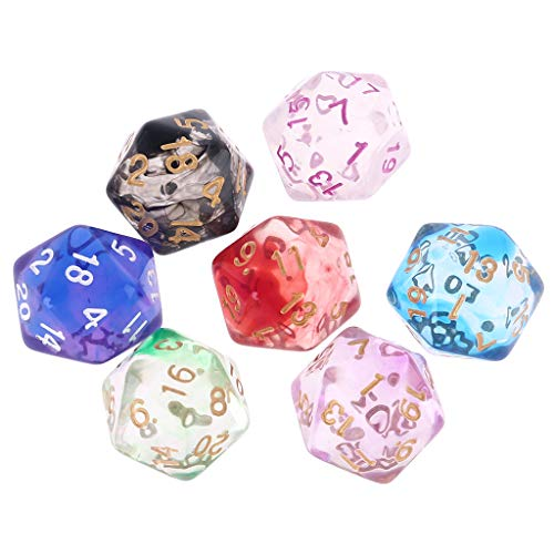 7 Stück/Set Doppelfarben D20 Polyedrische Würfel Transparent 20-seitige Würfel Perlen Zahlen Zifferblätter Tisch Brettspiel Rollenspiel