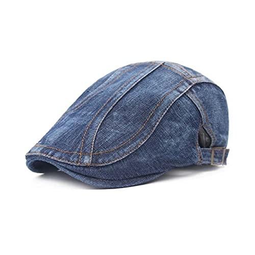 LHL Denim Stitching Boinas para hombre Boina Caps Retro Casual Boinas Flat Cap Viajes al aire libre ocio Sombreros de verano