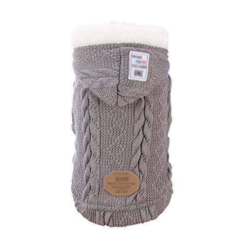 YYDE Zimowy sweter z kapturem dla zwierzęcia domowego z kapturem, miękki i wygodny ciepły kołnierz futrzany kamizelka, moda dwunogi ubrania, mały zwierzak, 5 rozmiarów, szary, M