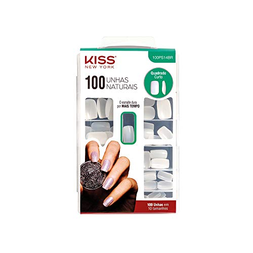 Kiss Products 100 Full Cover Nails, Short Square, 0.24 Pound