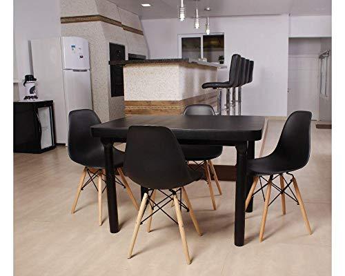 Kit Mesa De Jantar França 110x80 Preta + 04 Cadeiras Charles Eames - Preta