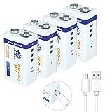 MELASTA 9V Rechargeable Batteries, 9V Lithium Battery 4-Pack with USB Charging Port for Guitar