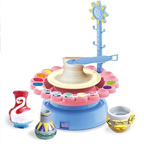FENGXU Töpferscheibe Sonnenblumen Mini Keramik Lehm Kunstwerk Machen Maschine, Keramik Radmaschine Elektrisches, Töpfermaschine Lernspielzeug für Kinder (Color:Rosa)