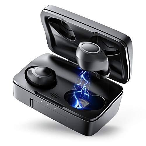 Auriculares Bluetooth, ENACFIRE Future Plus Auriculares inalámbricos Mini Twins Estéreo In-Ear Sport Bluetooth 5.0 con Caja de Carga de 2600mAh Portátil Y Micrófono Integrado 104h reproducción, IPX7