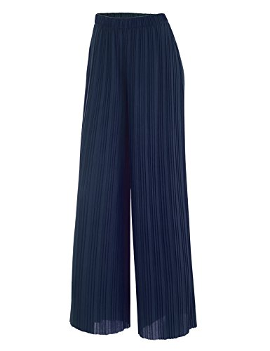 LL WB1795 Womens Pleated Wide Leg Pants with Elastic Waist Band-Made in USA L Navy