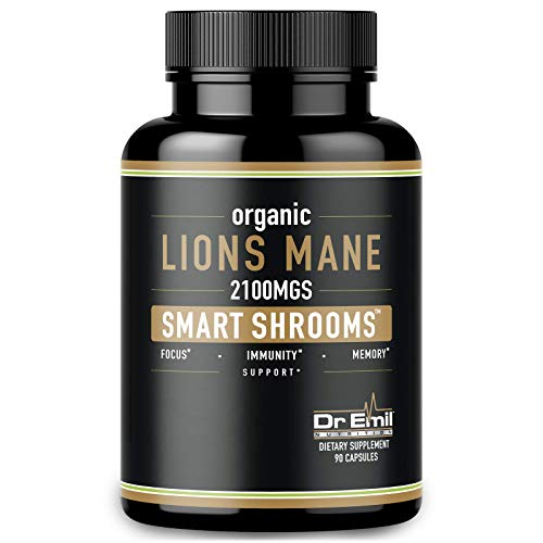 Organic Lions Mane Mushroom Capsules - 2100 mg Max Capsule Dose + Absorption Enhancer - Nootropic Brain Supplement and Immune System Booster (100% Pure Lions Mane Extract)
