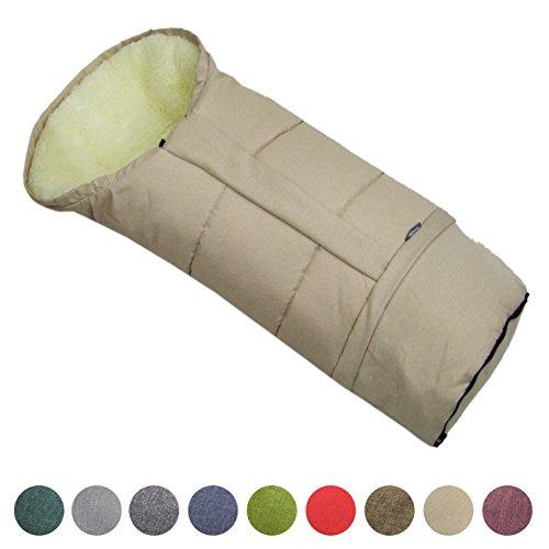 BAMBINIWELT Winterfusssack in Mumienform für Kinderwagen, Jogger, Buggy oder Schlitten, aus Wolle, Größe anpassbar, MUMIE MELIERT (beige)
