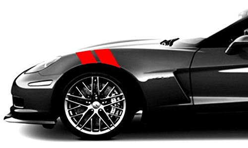 Clausen's World 4in. Fender Hash Double Bar Vinyl Graphic Decal Racing Stripes, Fits Corvette C6 Stingray, Both Sides, Red